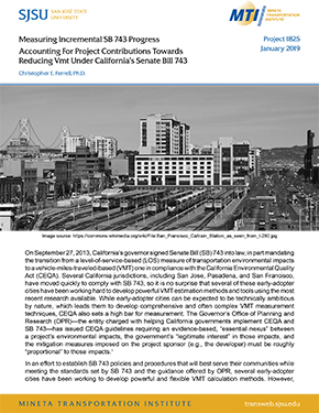 Measuring Incremental SB743 Progress: Accounting for Project Contributions Towards Reducing VMT Under California's Senate Bill 743