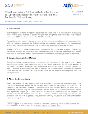 What Do Americans Think about Federal Tax Options to Support Transportation? Topline Results from Year Twelve of a National Survey