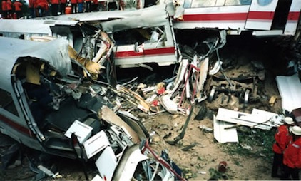 High-speed rail crash site, Eschede, Germany, 1998